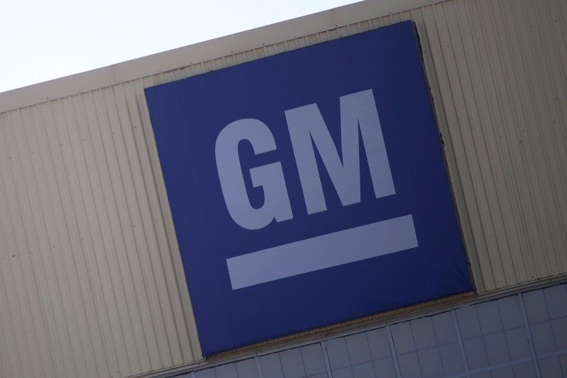 Logo of General Motors is pictured at its plant in Silao