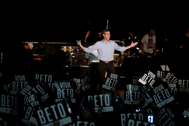 """FILE PHOTO: US. Senate candidate Beto O'Rourke comes out before singer Willie Nelson at the """"Turn out for Texas Rally with Willie & Beto"""" event in Austin"""