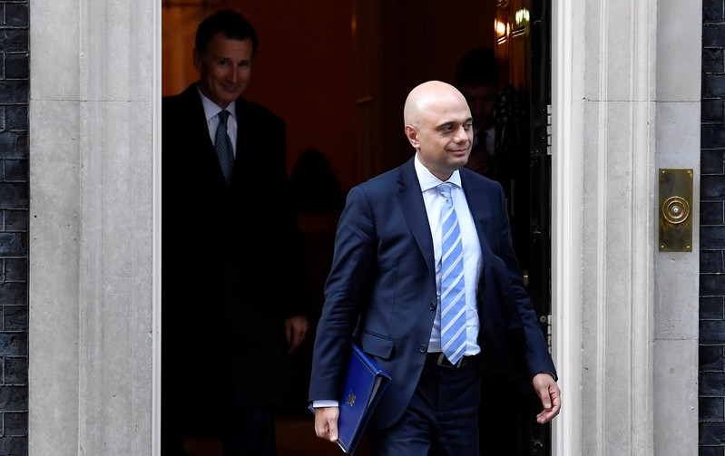 Britain's Home Secretary Sajid Javid is seen outside Downing Street in London