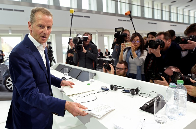 FILE PHOTO: Herbert Diess, CEO of German carmaker Volkswagen at the annual news conference in Wolfsburg