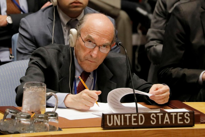FILE PHOTO: United States diplomat Elliott Abrams takes notes during a meeting of the U.N. Security Council called to vote on a U.S. draft resolution calling for free and fair presidential elections in Venezuela at U.N. headquarters in New York