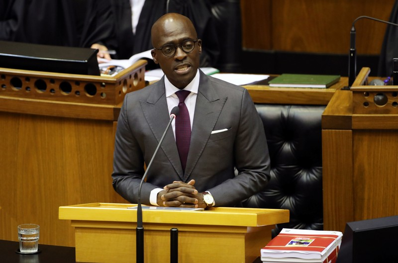FILE PHOTO - Finance Minister Malusi Gigaba delivers his budget address at Parliament in Cape Town