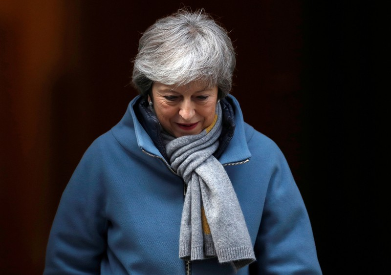 FILE PHOTO: Britain's Prime Minister Theresa May is seen outside Downing Street in London
