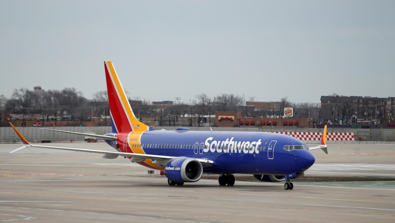 FILE PHOTO: A Southwest Airlines Co. Boeing 737 MAX 8 aircraft taxis at Midway International Airport in Chicago