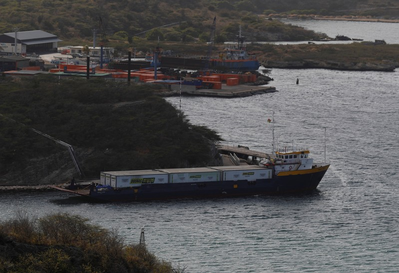 FILE PHOTO - The Midnight Stone ship carrying containers with humanitarian aid for Venezuela is docked, in the port of Willemstad on the island of Curacao