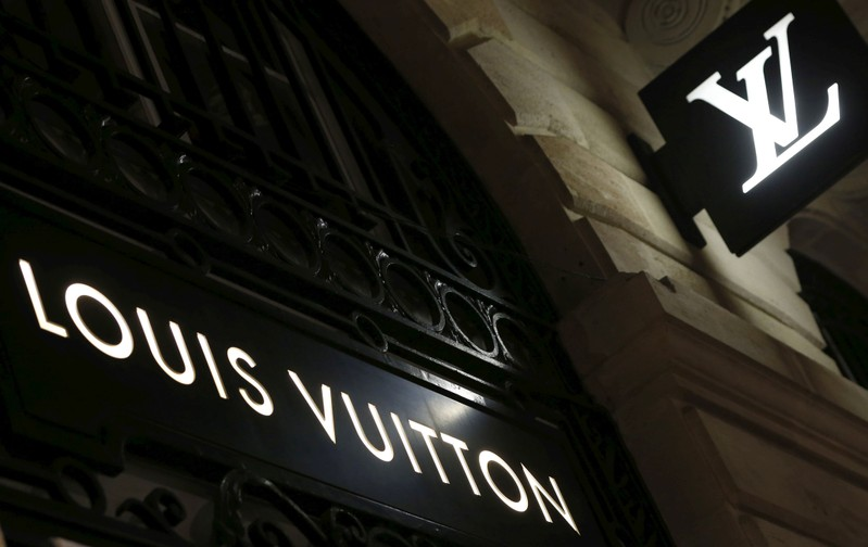 Logos of the Louis Vuitton brand are seen outside a Louis Vuitton store in Bordeaux