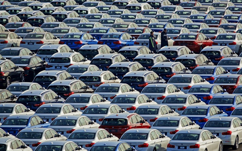 FILE PHOTO: BMW cars are seen at the automobile terminal in the port of Dalian