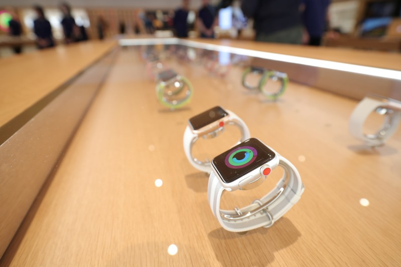 Apple watches are seen at a new Apple store in Chicago