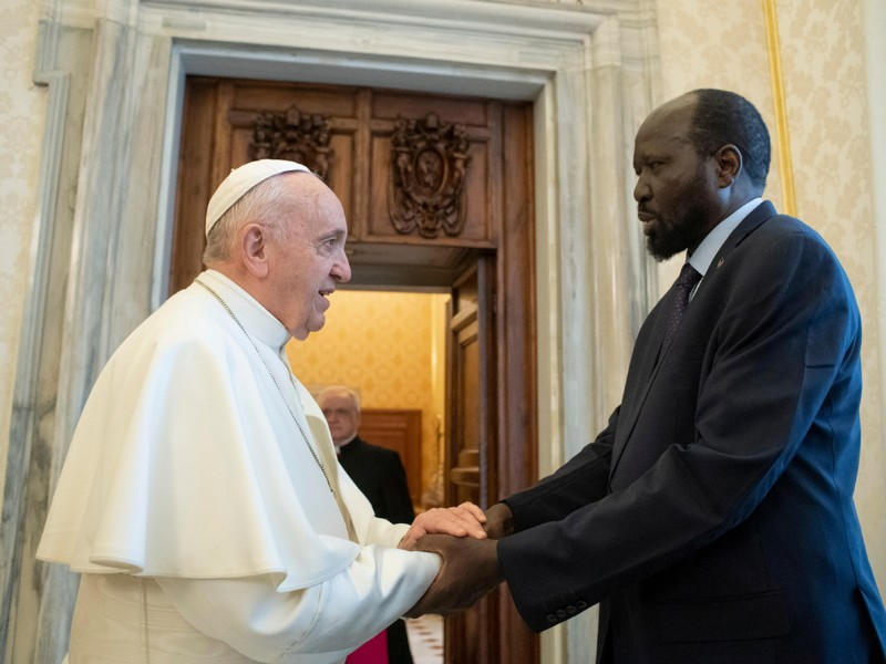 Pope Francis attends an audience with the President of South Sudan Salva Kiir at the Vatican