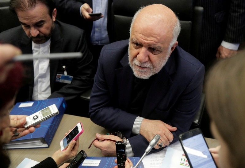 FILE PHOTO: Iran's Oil Minister Zanganeh talks to journalists at the beginning of an OPEC meeting in Vienna