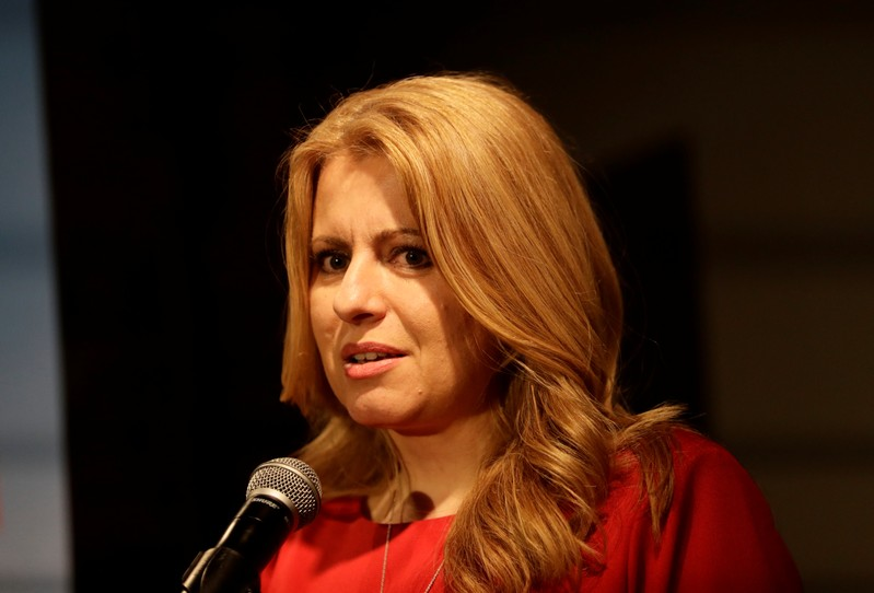 Slovakia's presidential candidate Caputova speaks after the first unofficial results at a party election headquarters in Bratislava