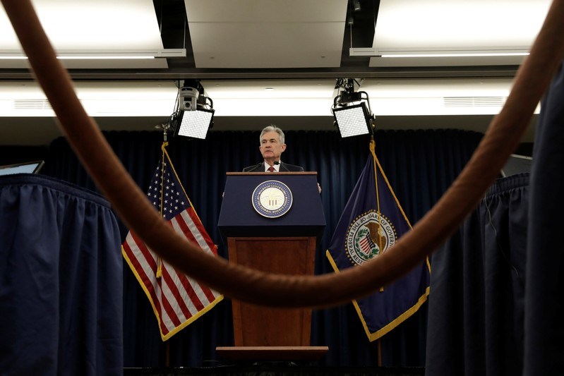 Federal Reserve Board Chairman Jerome Powell holds a news conference after a Federal Open Market Committee meeting in Washington