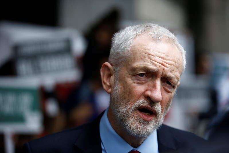 Britain's opposition Labour Party leader Jeremy Corbyn speaks to the media outside New Zealand House in London