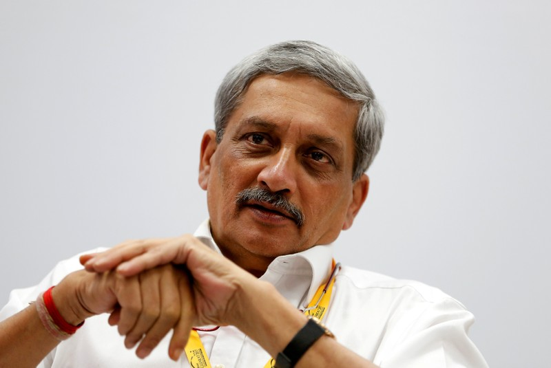 FILE PHOTO: India's Defence Minister Manohar Parrikar attends a seminar during the Vibrant Gujarat investor summit in Gandhinagar