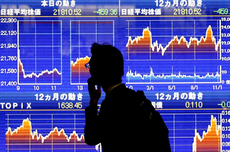 FILE PHOTO : A man looks at an electronic stock quotation board showing Japan's Nikkei average outside a brokerage in Tokyo