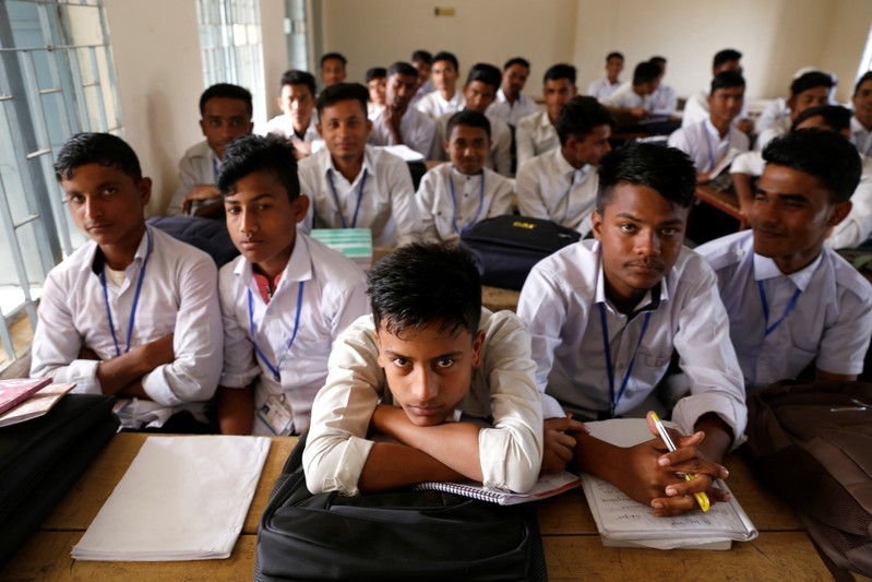 Rohingya students are seen during a class at school, at Leda refugee camp in Cox's Bazar, Bangladesh