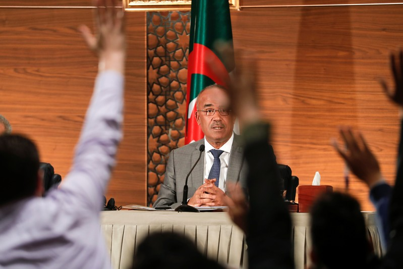 Algeria's newly appointed prime minister, Noureddine Bedoui, holds a joint news conference with deputy prime minister Ramtane Lamamra, in Algiers,