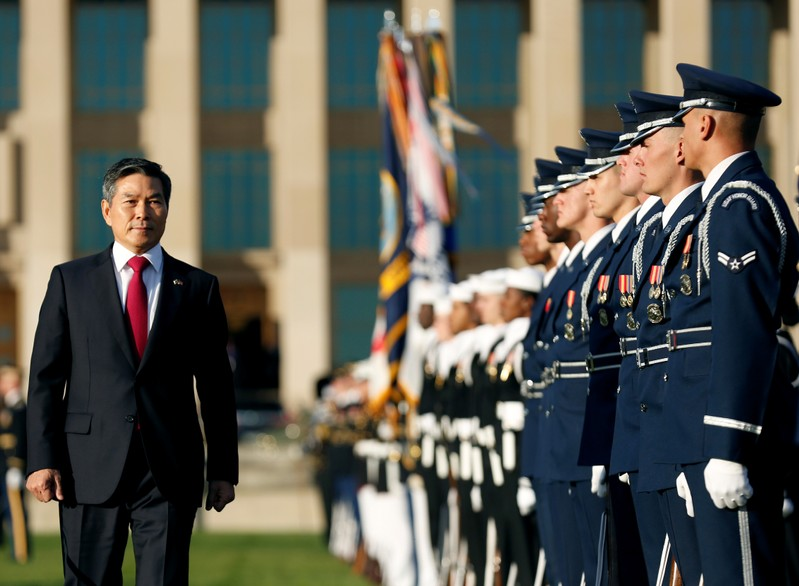 U.S. Defense Secretary Jim Mattis and South Korean National Defense Minister Jeong Kyeong-doo take part in an armed forces full honor arrival ceremony in Washington
