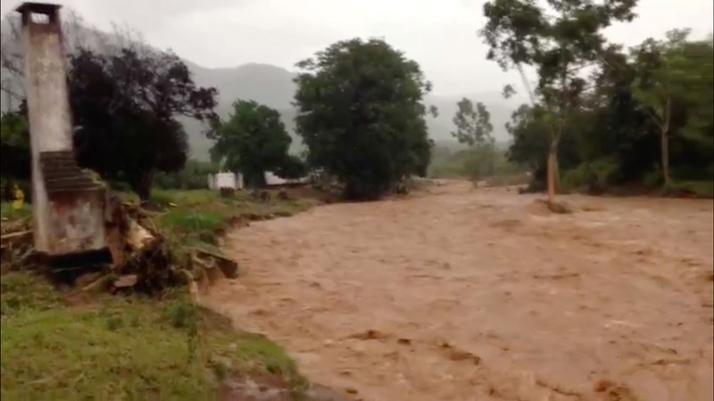 Flooding caused by Cyclone Idai is seen in Chipinge
