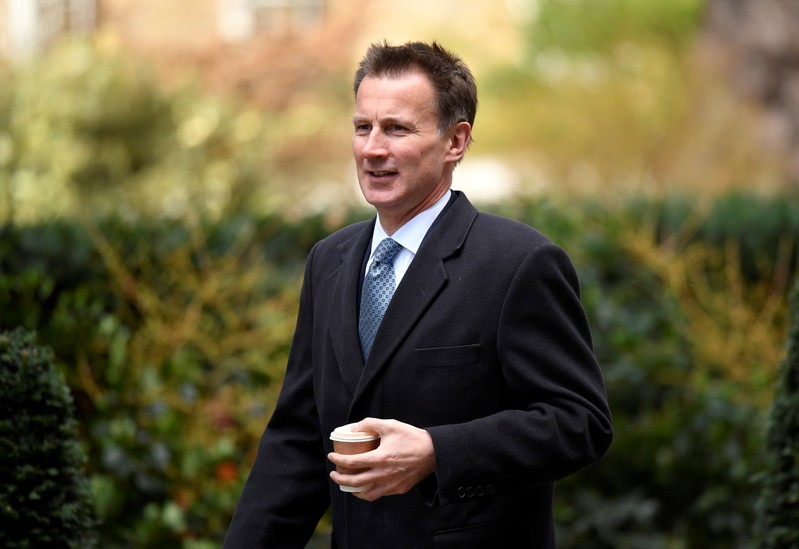 Britain's Foreign Secretary Jeremy Hunt is seen outside Downing Street ahead of a Brexit vote in London