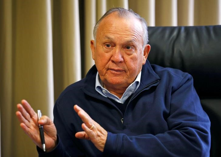 South African tycoon Christo Wiese gestures during an interview in Cape Town