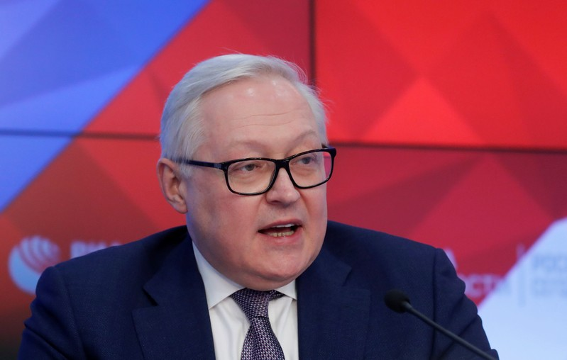 Russian Deputy Foreign Minister Ryabkov speaks during a news conference in Moscow