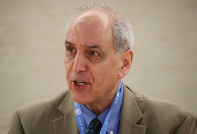 Lynk, Special Rapporteur on the situation of human rights in Palestinian territories attends a session of the Human Rights Council at the United Nations in Geneva