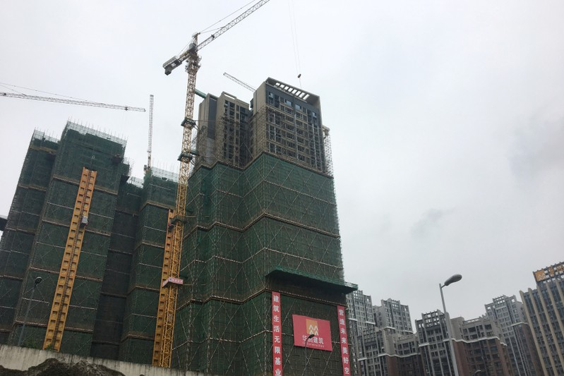 Buildings under construction are pictured in Chengdu