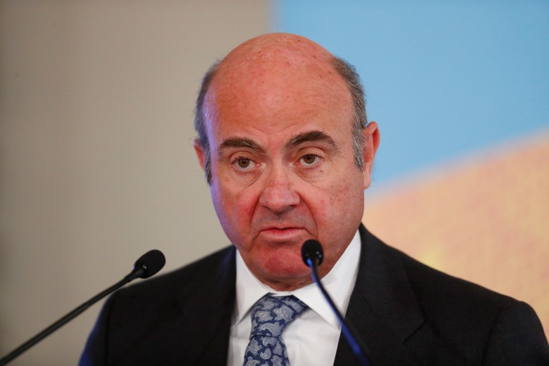 Vice-President of the European Central Bank Luis de Guindos speaks during an event in Riga