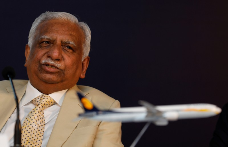 Naresh Goyal, Chairman of Jet Airways speaks during a news conference in Mumbai
