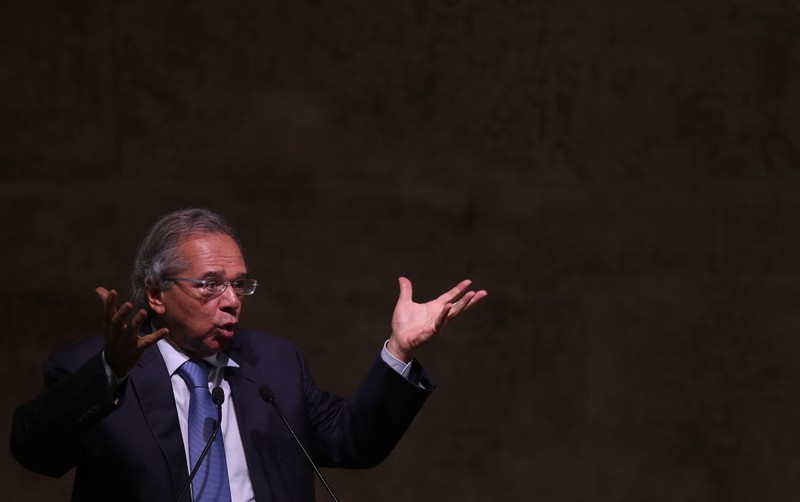 Brazil's Economy Minister Paulo Guedes talks during a seminar in Rio de Janeiro