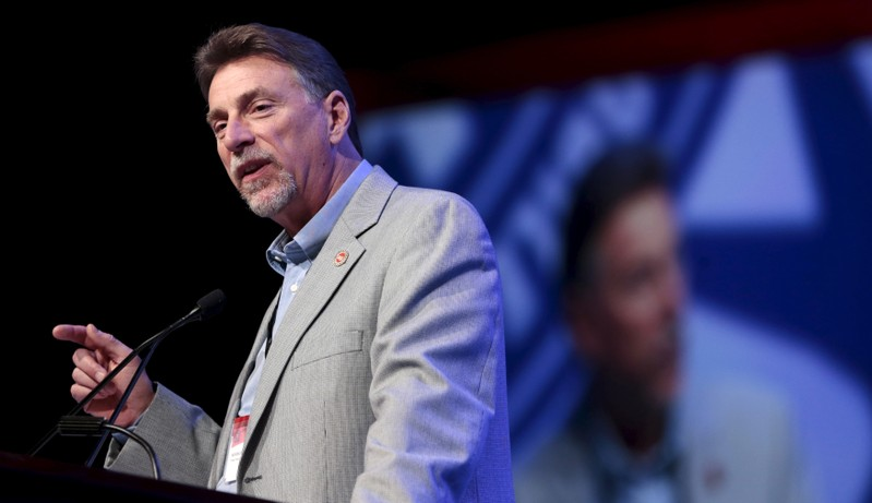 UAW Vice President Norwood Jewell addresses their Special Bargaining Convention held at COBO Hall in Detroit