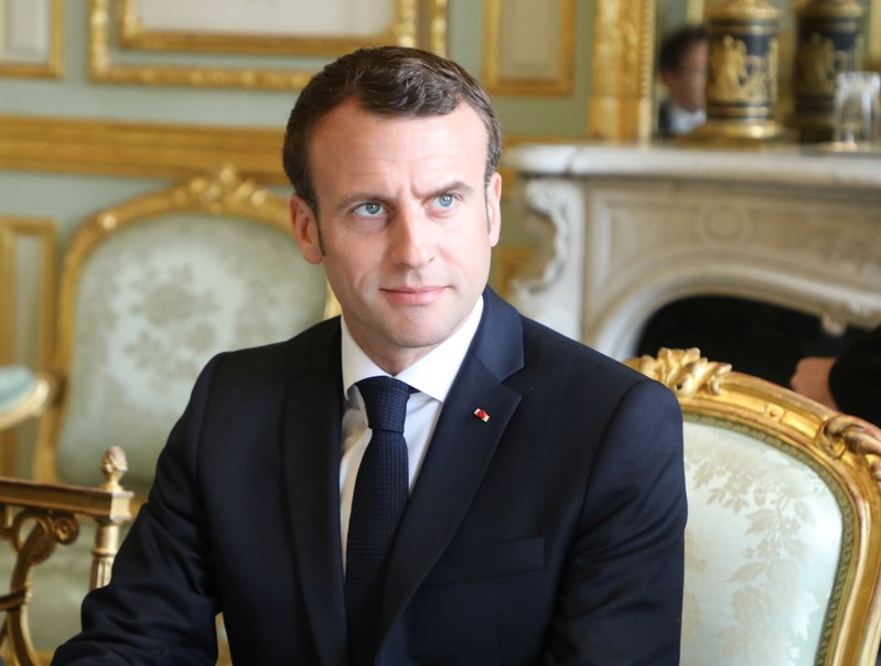 French President Emmanuel Macron holds a meeting at the Elysee Palace in Paris