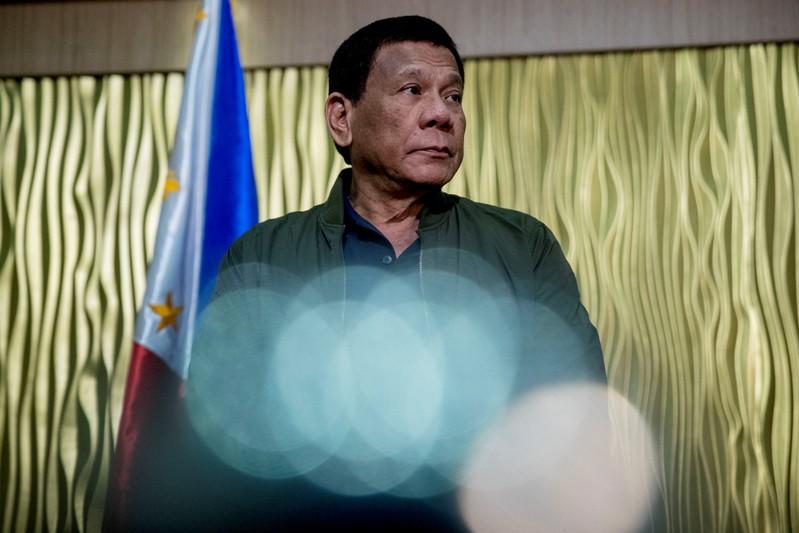 Philippines President Rodrigo Duterte arrives to greet the U.S. Secretary of State Mike Pompeo at Colonel Jesus Villamor Air Base in Manila