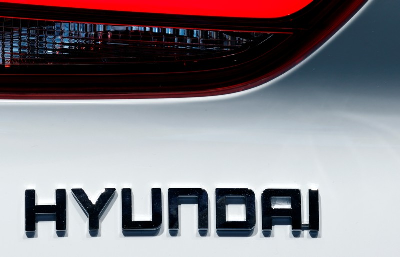 FILE PHOTO: The Hyundai logo is seen during the first press day of the Paris auto show