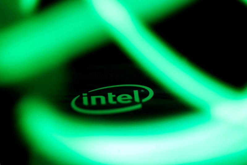 FILE PHOTO: Intel logo is seen behind LED lights in this illustration