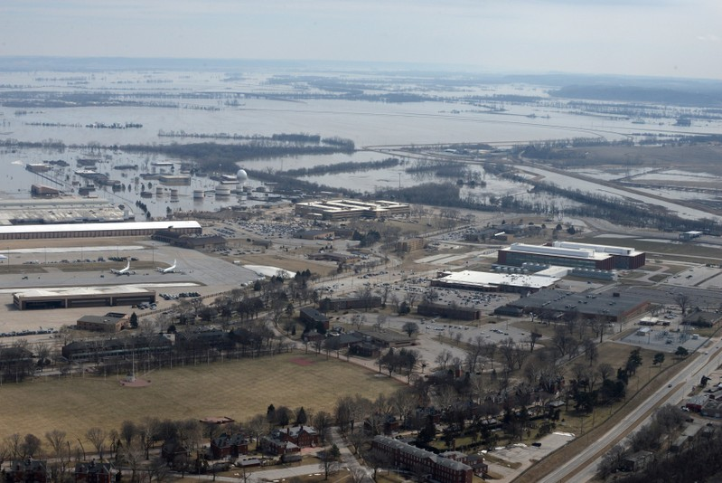FILE PHOTO: An aerial photo of Offutt Air Force Base and the surrounding areas affected by flood waters in Nebraska