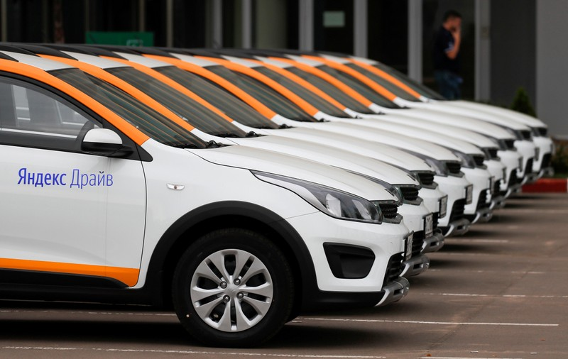 FILE PHOTO: Yandex.Drive carsharing cars are seen at a parking lot in Moscow