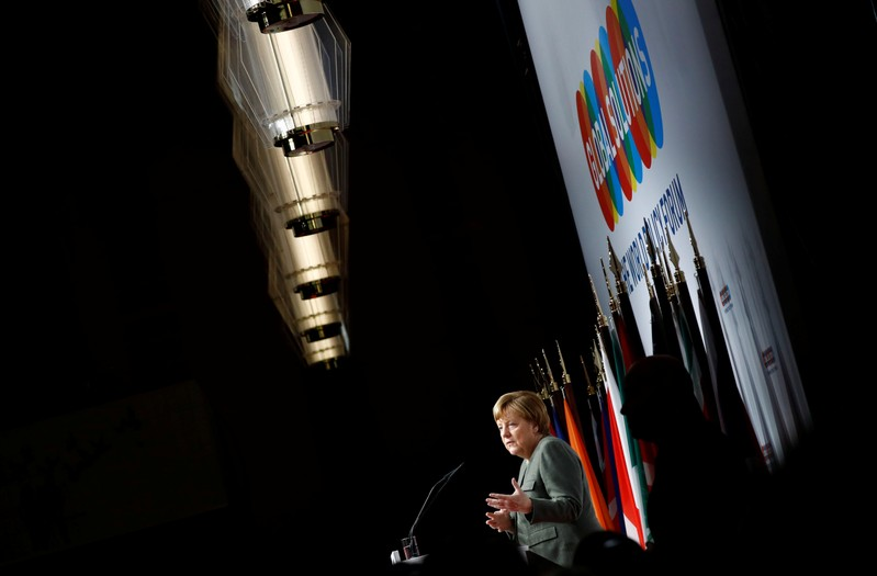 German Chancellor Angela Merkel gives a speech at the annual Global Solutions Summit in Berlin