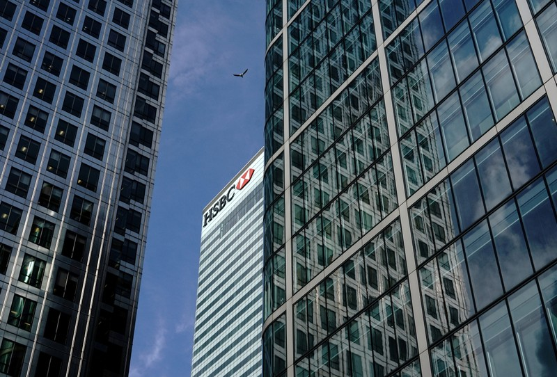 FILE PHOTO: The HSBC bank is seen in the financial district of Canary Wharf