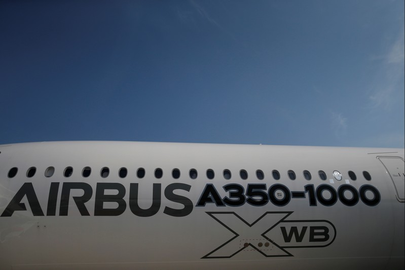 An Airbus A350-1000 Xwb is seen on static display during the 52nd Paris Air Show at Le Bourget Airport near Paris