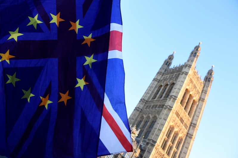FILE PHOTO: British and EU flags flutter outside the Houses of Parliament in London