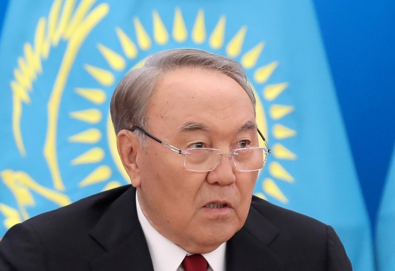 FILE PHOTO: Kazakh President Nazarbayev speaks during his annual state-of-the-nation address at the Akorda presidential residence in Astana