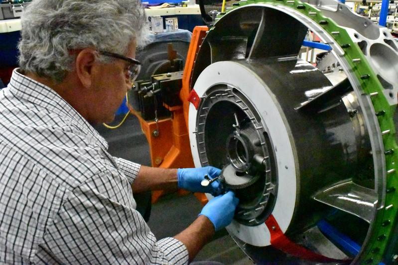 An aircraft engine being built at Honeywell Aerospace in Phoenix
