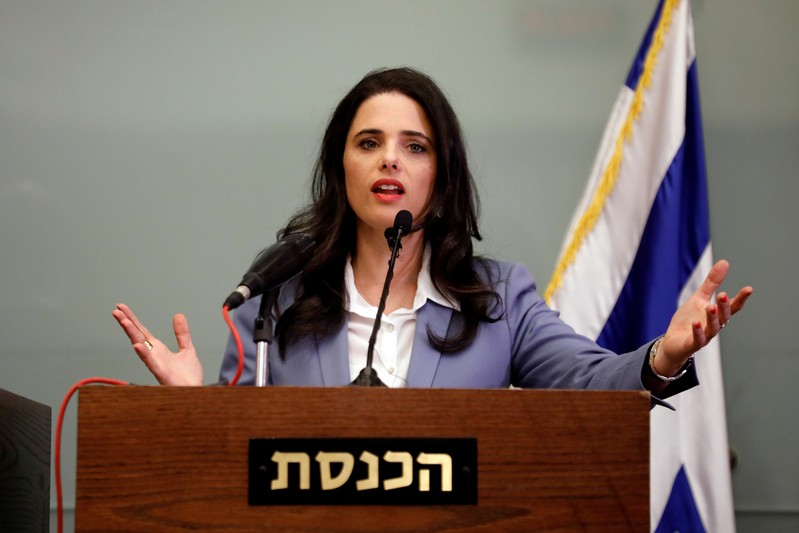 FILE PHOTO: Israeli Justice Minister Ayelet Shaked delivers a statement to members of the media, at the Knesset, Israel's parliament, in Jerusalem