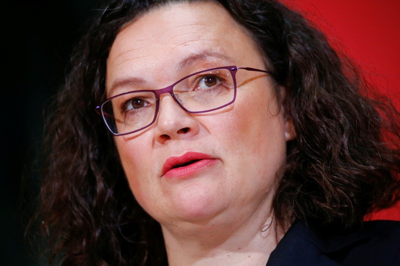German Social Democratic Party (SPD) leader Nahles delivers a statement following the Hesse state election, in Berlin
