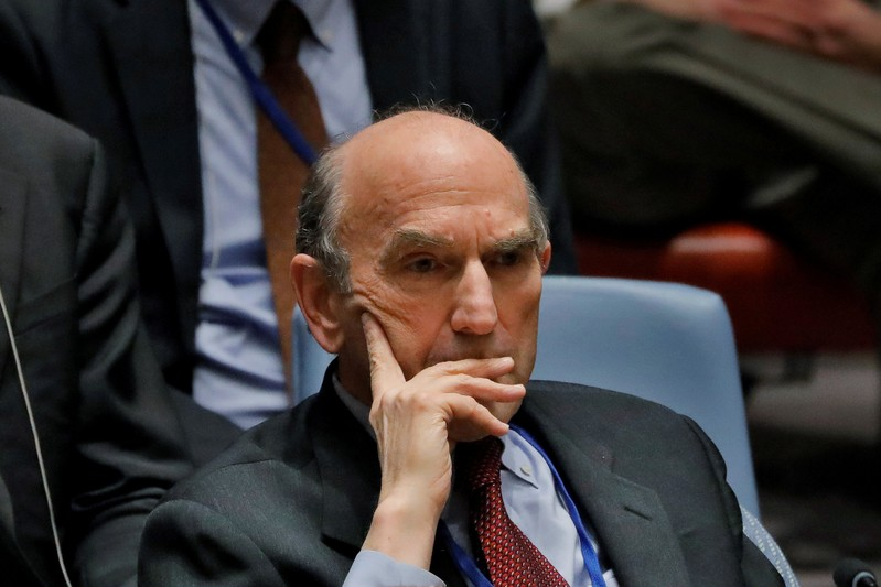 FILE PHOTO: United States diplomat Elliott Abrams listens during a meeting of the U.N. Security Council called to vote on a U.S. draft resolution calling for free and fair presidential elections in Venezuela at U.N. headquarters in New York