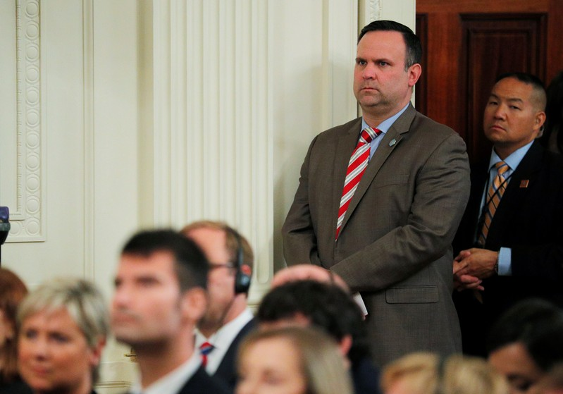 White House Social Media Director Scavino awaits start of joint news conference at the White House in Washington