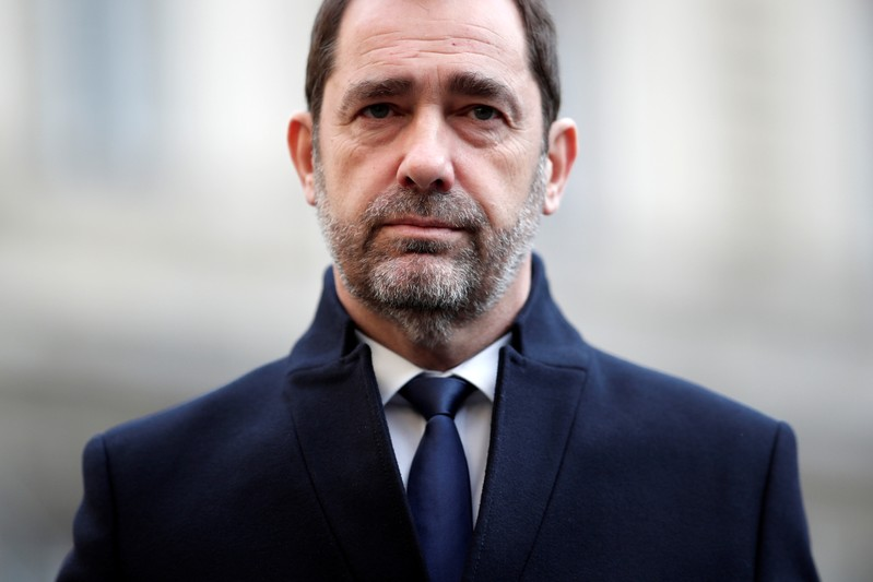 French Interior Minister Christophe Castaner attends a ceremony at the Police Prefecture in Paris