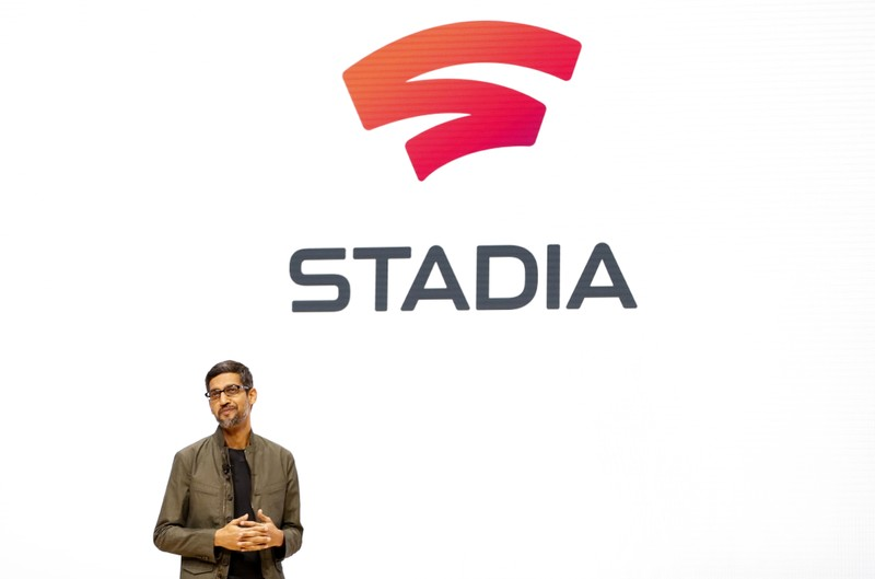 Google CEO Sundar Pichai speaks during a Google keynote address announcing a new video gaming streaming service named Stadia at the Gaming Developers Conference in San Francisco